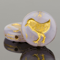 Coin with Bird (12mm) Lilac Opaline with Gold Wash