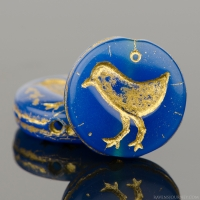 Coin with Bird (12mm) Blue (Lapis) Opaline with Gold Wash