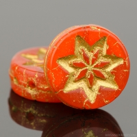 Coin with Star (13mm) Orange Opaline with Gold Wash
