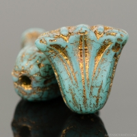 Lily (9x10mm) Turquoise Opaque with Dark Bronze Wash