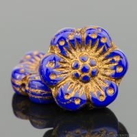 Wild Rose (14mm) Royal Blue Opaque with Dark Bronze Wash