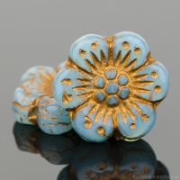 Wild Rose (14mm) Aqua Blue Opaline with Dark Bronze Wash