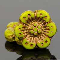 Wild Rose (14mm) Gaspeite Green Opaque with Dark Bronze Wash