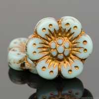 Wild Rose (14mm) Blue Turquoise (Light) Opaque with Dark Bronze Wash