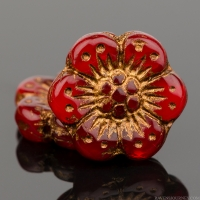 Wild Rose (14mm) Red Opaline with Dark Bronze Wash