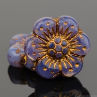 Wild Rose (14mm) Purple Opaline with Dark Bronze Wash