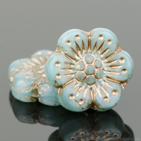 Wild Rose (14mm) Aqua Blue Opaline with Platinum Wash