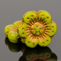 Wild Rose (14mm) Gaspeite Green Opaque with Copper Wash