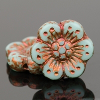 Wild Rose (14mm) Light Blue Turquoise Opaque with Copper Wash