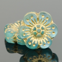 Wild Rose (14mm) Aqua Blue Transparent Matte with Gold Wash