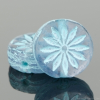 Coin with Aster (12mm) Tanzanite Purple Transparent with Turquoise Wash