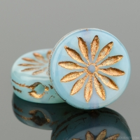 Coin with Aster (12mm) Aqua Blue Opaline with Dark Bronze Wash