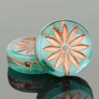 Coin with Aster (12mm) Aqua Blue Transparent Matte with White Core and Copper Wash