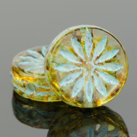 Coin with Aster (12mm) Amber Transparent with Picasso Finish and Turquoise Wash