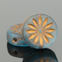 Coin with Aster (12mm) Montana Blue Transparent Matte with Dark Bronze Wash