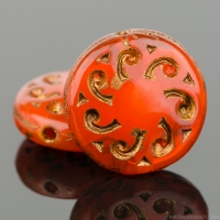 Sun Wheel (13mm) Orange Opaline with Dark Bronze Wash