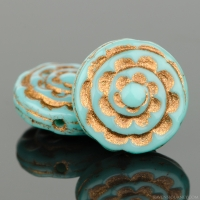 Sepal Spiral (13mm) Turquoise Opaque with Dark Bronze Wash