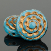 Sepal Spiral (13mm) Teal Blue Opaque with Dark Bronze Wash
