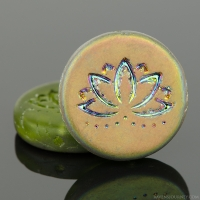 Coin with Lotus Flower (18mm) Olivine Green Transparent Matte with Half-Coat Vitral Finish