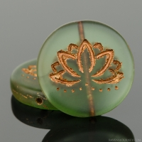 Coin with Lotus Flower (18mm) Tourmaline Green Transparent Matte with Dark Bronze Wash