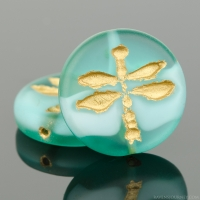 Pressed Coin with Dragonfly (18mm) Aqua Blue Transparent Matte with White Core and Gold Wash