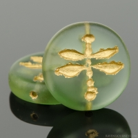 Pressed Coin with Dragonfly (18mm) Tourmaline Green Transparent Matte with Gold Wash