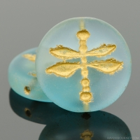 Pressed Coin with Dragonfly (18mm) Aqua Blue Transparent Matte with Gold Wash