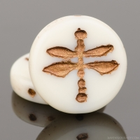 Pressed Coin with Dragonfly (18mm) Ivory Opaque with Dark Bronze Wash