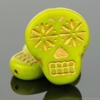 Sugar Skull (20x17mm) Gaspeite Green Opaque with Gold Wash