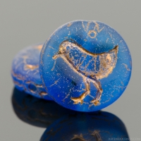 Coin with Bird (12mm) Capri Blue Transparent Matte with Copper Finish