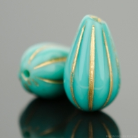 Melon Drop (13x8mm) Turquoise Opaque with Gold Wash
