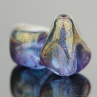 Old Style Drop (12x10mm) Sapphire Blue Matte Transparent with Marbled Purple/Gold Finish