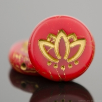 Coin with Lotus Flower (14mm) Red Opaline Matte with Gold Wash