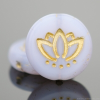 Coin with Lotus Flower (14mm) Lilac Purple Silk Matte with Gold Wash