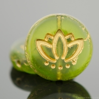 Coin with Lotus Flower (14mm) Olivine Green Transparent Matte with Gold Wash