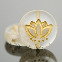 Coin with Lotus Flower (14mm) Crystal Transparent Matte with Gold Wash