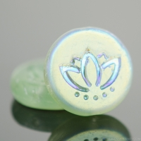 Coin with Lotus Flower (14mm) Tourmaline Green Transparent Matte with AB Halfcoat Finish
