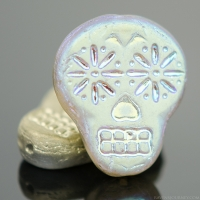 Sugar Skull (20x17mm) Gold Matte Transparent with Blue/Purple Iridescent Halfcoat Finish