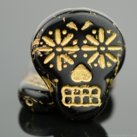 Sugar Skull (20x17mm) Jet Black Opaque with Gold Wash
