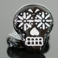 Sugar Skull (20x17mm) Jet Black Opaque with Silver Wash