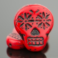 Sugar Skull (20x17mm) Deep Red Opaque with Black Wash