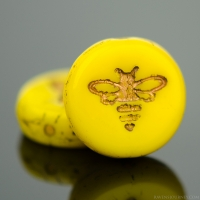 Pressed Coin with Bee (12mm) Yolk Yellow Opaque with Dark Bronze Wash