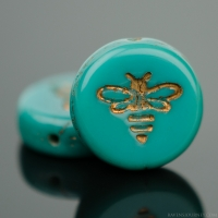 Pressed Coin with Bee (12mm) Turquoise Green Opaque with Dark Bronze Wash