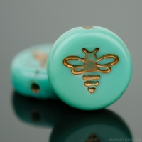 Pressed Coin with Bee (12mm) Turquoise Opaque with Dark Bronze Wash