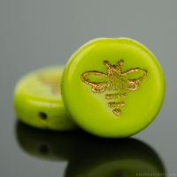 Pressed Coin with Bee (12mm) Gaspeite Green Opaque with Dark Bronze Wash