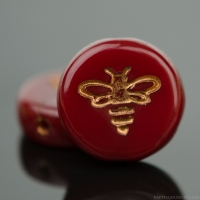 Pressed Coin with Bee (12mm) Red Opaline with Dark Bronze Wash