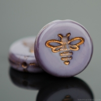 Pressed Coin with Bee (12mm) Purple Silk with Dark Bronze Wash
