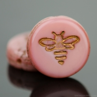Pressed Coin with Bee (12mm) Pink Silk with Dark Bronze Wash