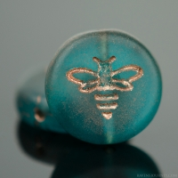 Pressed Coin with Bee (12mm) Capri Blue Transparent Matte with Copper Wash