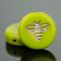 Pressed Coin with Bee (12mm) Gaspeite Green Opaque with Platinum Wash